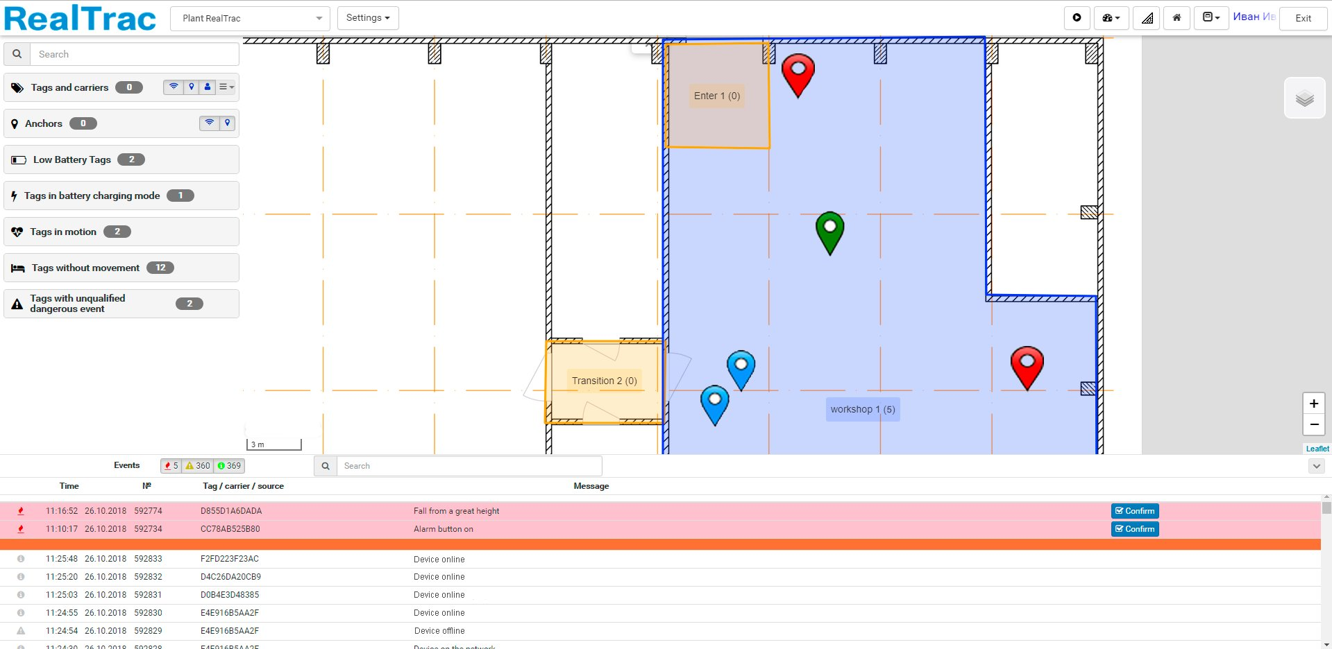 RealTrac Plant indoor positioning