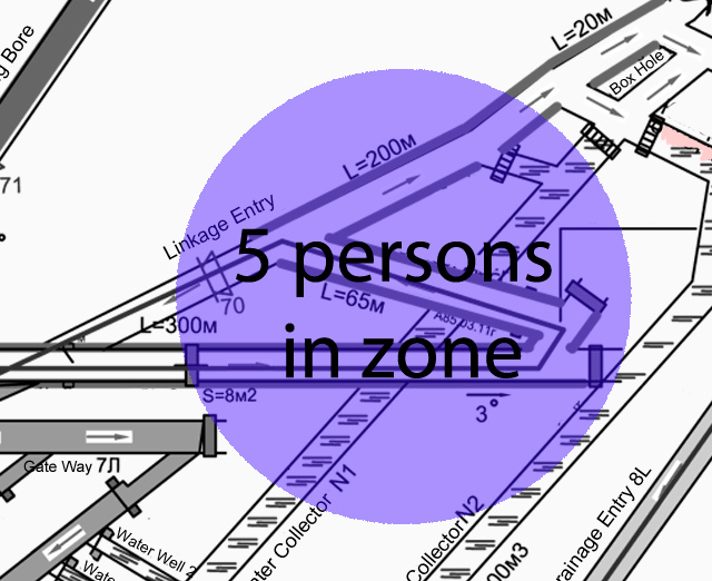 Detection of personnel or machinery positioning within the accuracy of the zone